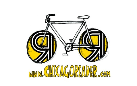 Logo for Chicago Reader's Bike Tent at Pitchfork. #bikervillage #chicagoreader #rossfeltenart #chicagovelo