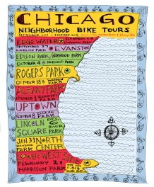 Chicago Neighborhood Bike Tours poster #chicagoneighborhoodbiketours #chicagovelo