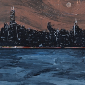 "City Night Lights #14. 48""x24"". Acrylic on canvas. Prints available for purchase upon request."