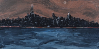"""City Night Lights #14. 48""""x24"""". Acrylic on canvas. Prints available for purchase upon request."""