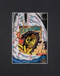 """""""White Hot Death"""". 5""""x7"""" mixed media on canvas board."""
