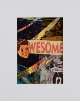 """""""The Future is Awesome"""". 5""""x7"""" mixed media on canvas board."""