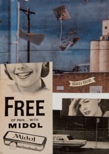 """Midol"". 5""x7"" mixed media on canvas board."