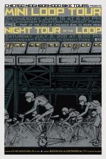 Night Tour of the Loop poster for Chicago Neighborhood Bike Tours