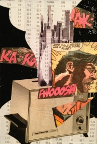 """TIPPING POINT. 5""""x7"""" collage study."""