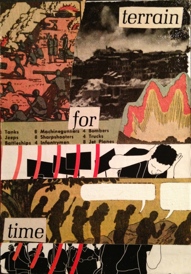 """TERRAIN FOR TIME. 5""""x7"""" collage study."""