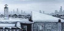 "City Night Lights #13. 48""x24"". Acrylic on canvas."