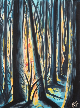 """""""Winter Fire"""". 16""""x20"""". Acrylic on canvas. Available for purchase."""