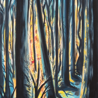 """Winter Fire"". 16""x20"". Acrylic on canvas. Available for purchase."
