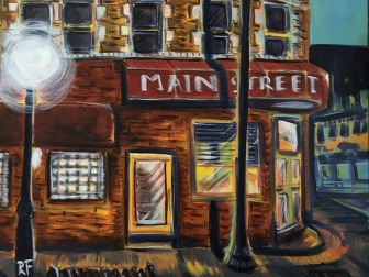 """""""Main St. Cafe"""" 20""""x16"""" acrylic on canvas. Prints available for purchase upon request."""