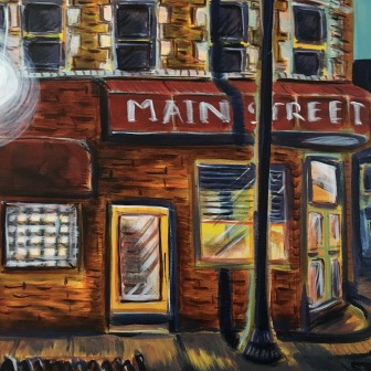 """Main St. Cafe"" 20""x16"" acrylic on canvas. Prints available for purchase upon request."