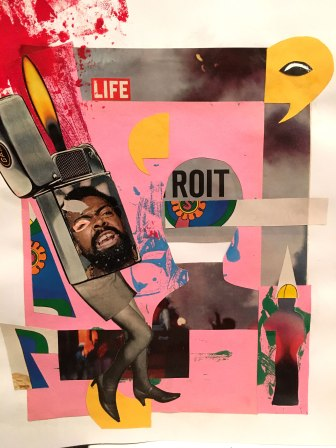 """Used clippings from a 1964 Life magazine article covering the race riots in Detroit combined with other collage elements help to convey the idea that social injustices affect more than just those directly involved. Mixed Media on 11""""x14"""" paper. Matted onto 16""""x20"""" black frame."""